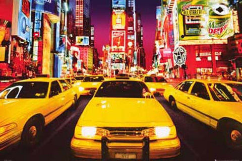 New York Times Square Taxi Poster