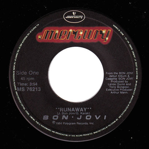 "Bon Jovi ‎– Runaway - 1984-Hard Rock, Pop Rock- Vinyl, 7"", 45 RPM, Single"