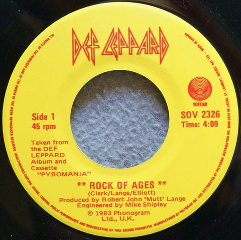 "Def Leppard ‎– Rock Of Ages - 1983-Heavy Metal, Arena Rock - Vinyl, 7"", 45 RPM, Single"