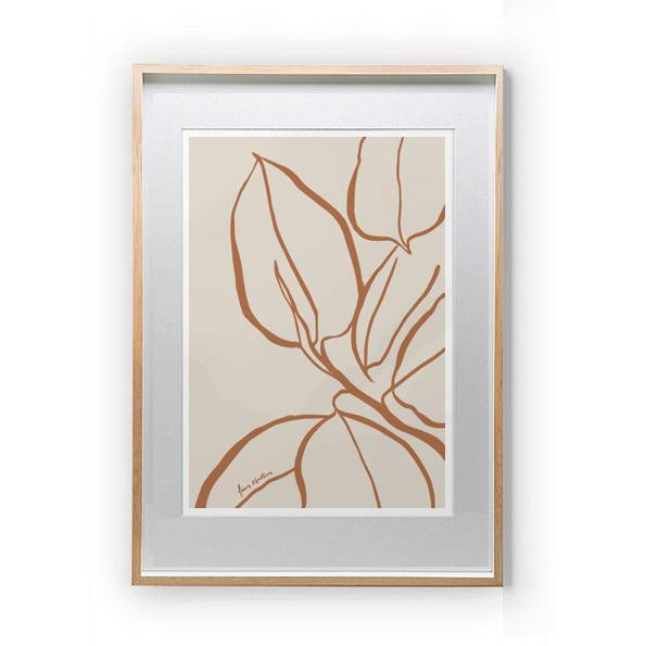 Ficus Lines Print A3 Sienna *Excludes Frame*