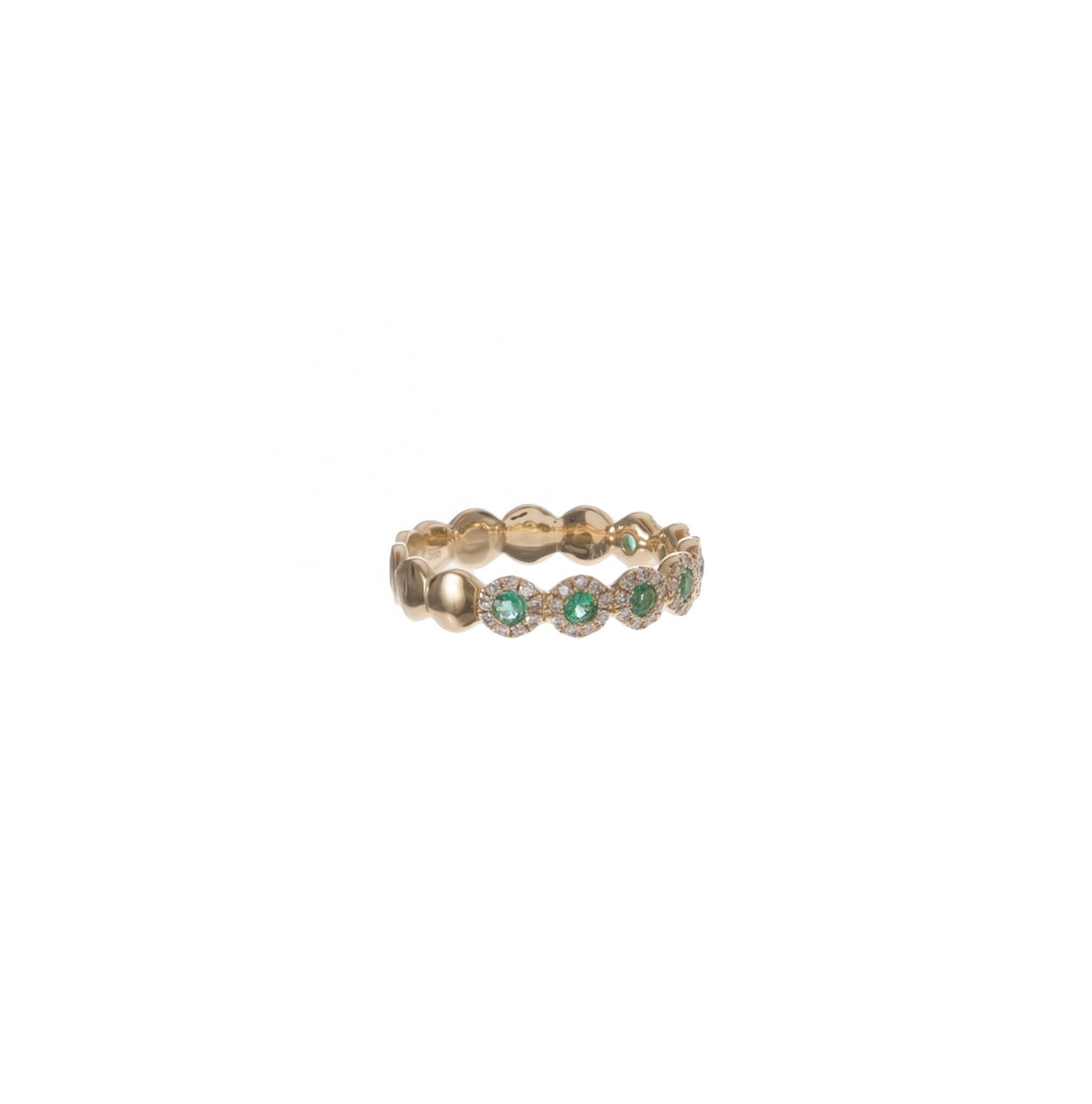 Pave & Bezel Emerald Circles Ring