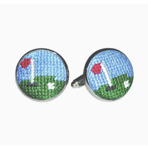 Golf Green Needlepoint Cufflinks by Smathers & Branson
