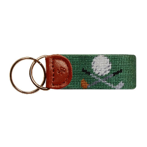 Golf Clubs Needlepoint Key Fob in Green by Smathers & Branson