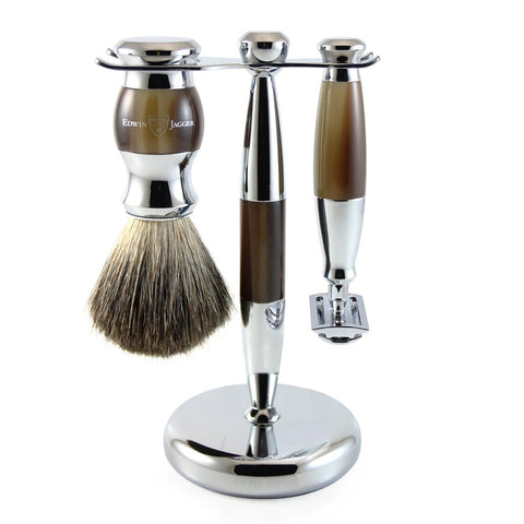 3 Piece Shaving Set (DE) in Imitation Horn & Chrome by Edwin Jagger