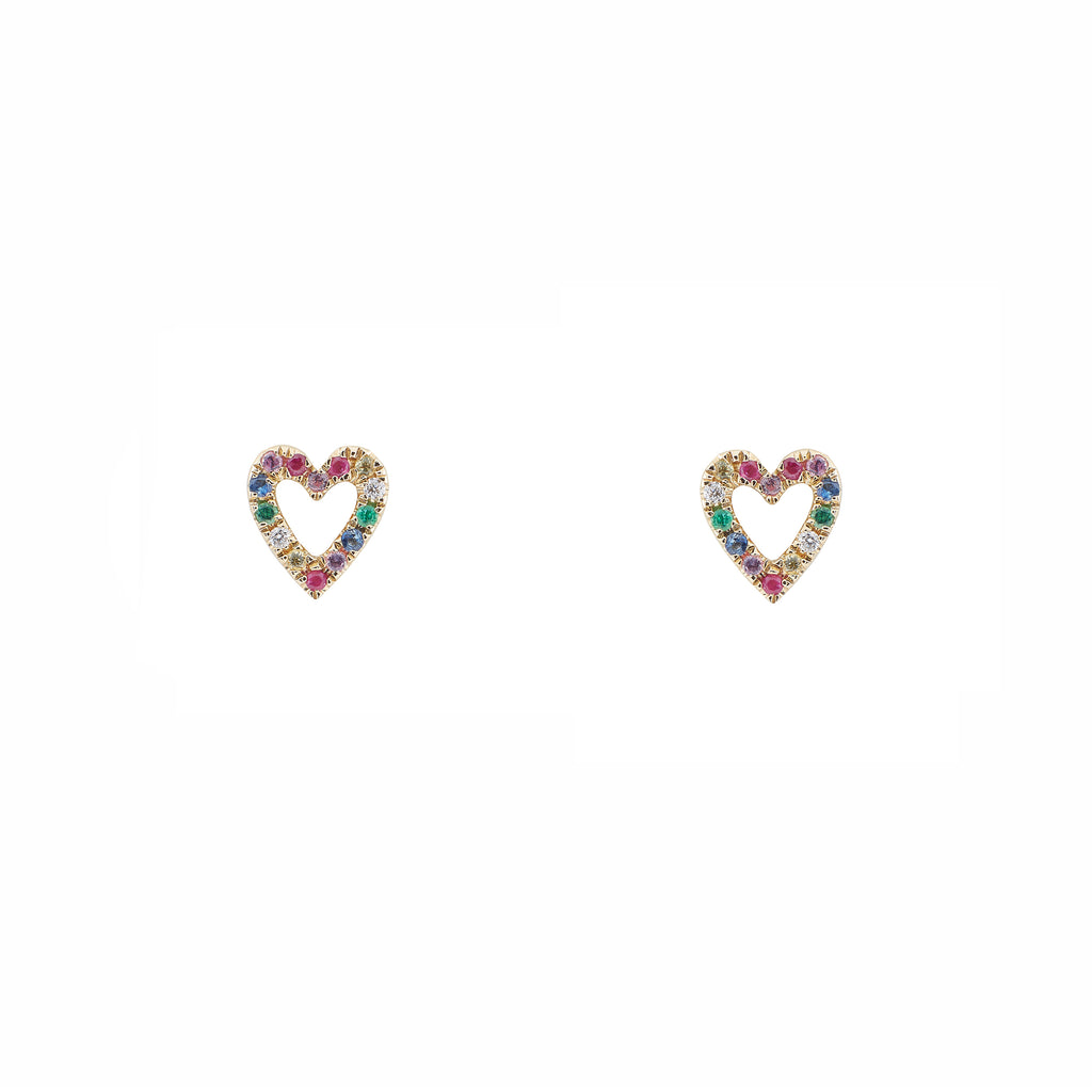 14k gold semi precious open heart studs