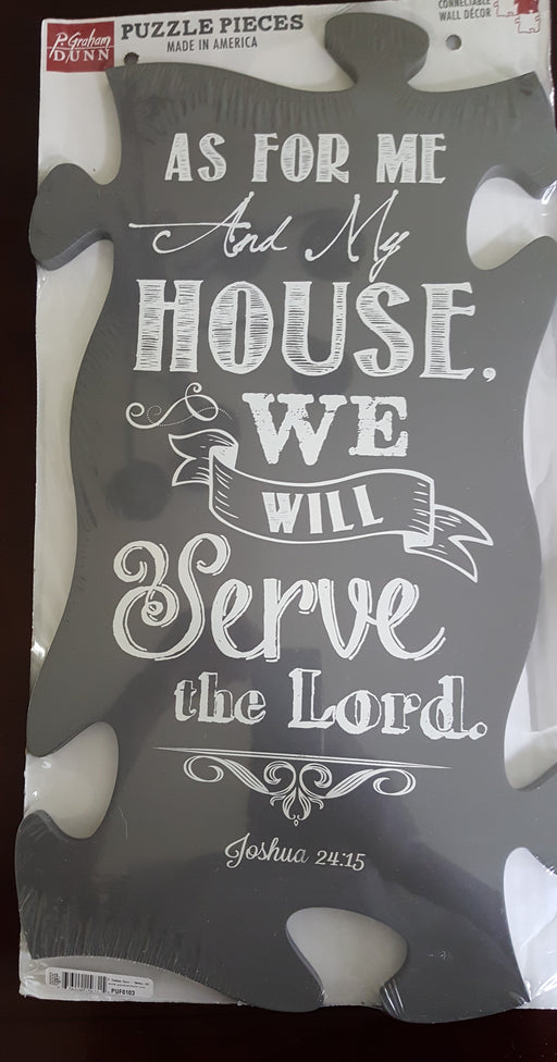 "Christian Wall Art - Puzzle Piece ""As For Me and My House"""