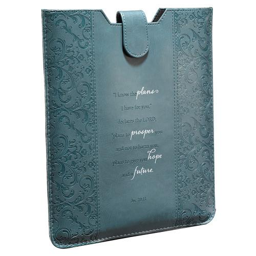 "Scripture Gifts - Teal Tablet Case Cover (""I Know The Plans I Have For You"") - Love the Lord Inc"