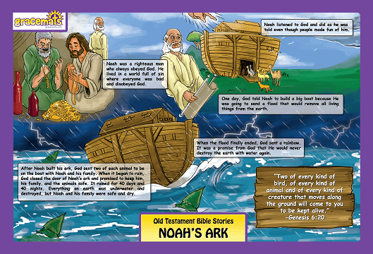Christian Childrens Placemats - The Story of Noah - Love the Lord Inc