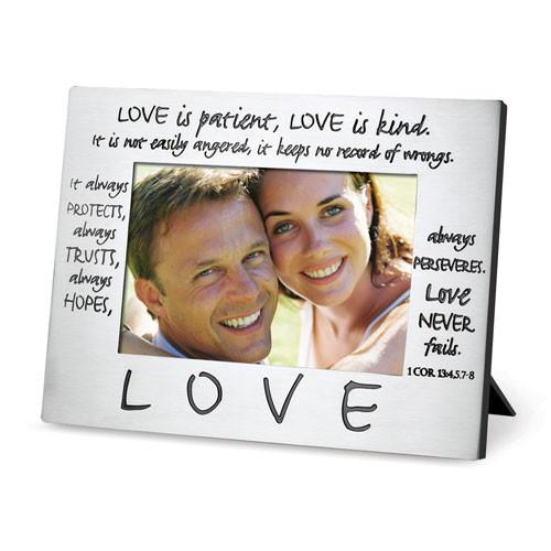 Scripture Gifts - Photo Frame (Love Is Patient, Love is Kind) - Love the Lord Inc