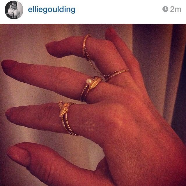 Ellie Goulding wearing the Sound Of The Sea Shell ring with beaded band.