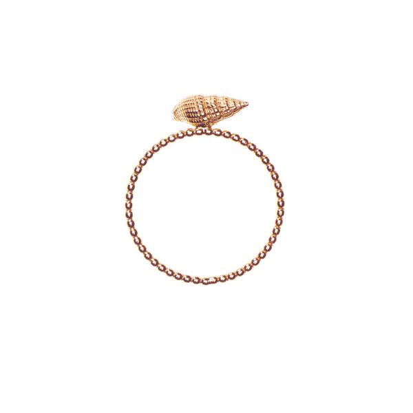 Sound of the Sea Shell Ring With Beaded Band - Rose Gold