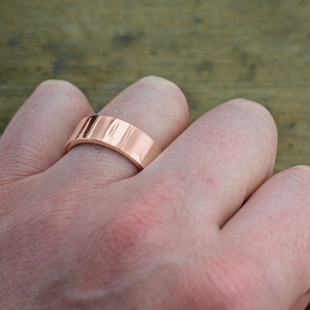 8mm 14K Rose Gold Mens Wedding Ring, Polished - Point No Point Studio - 4