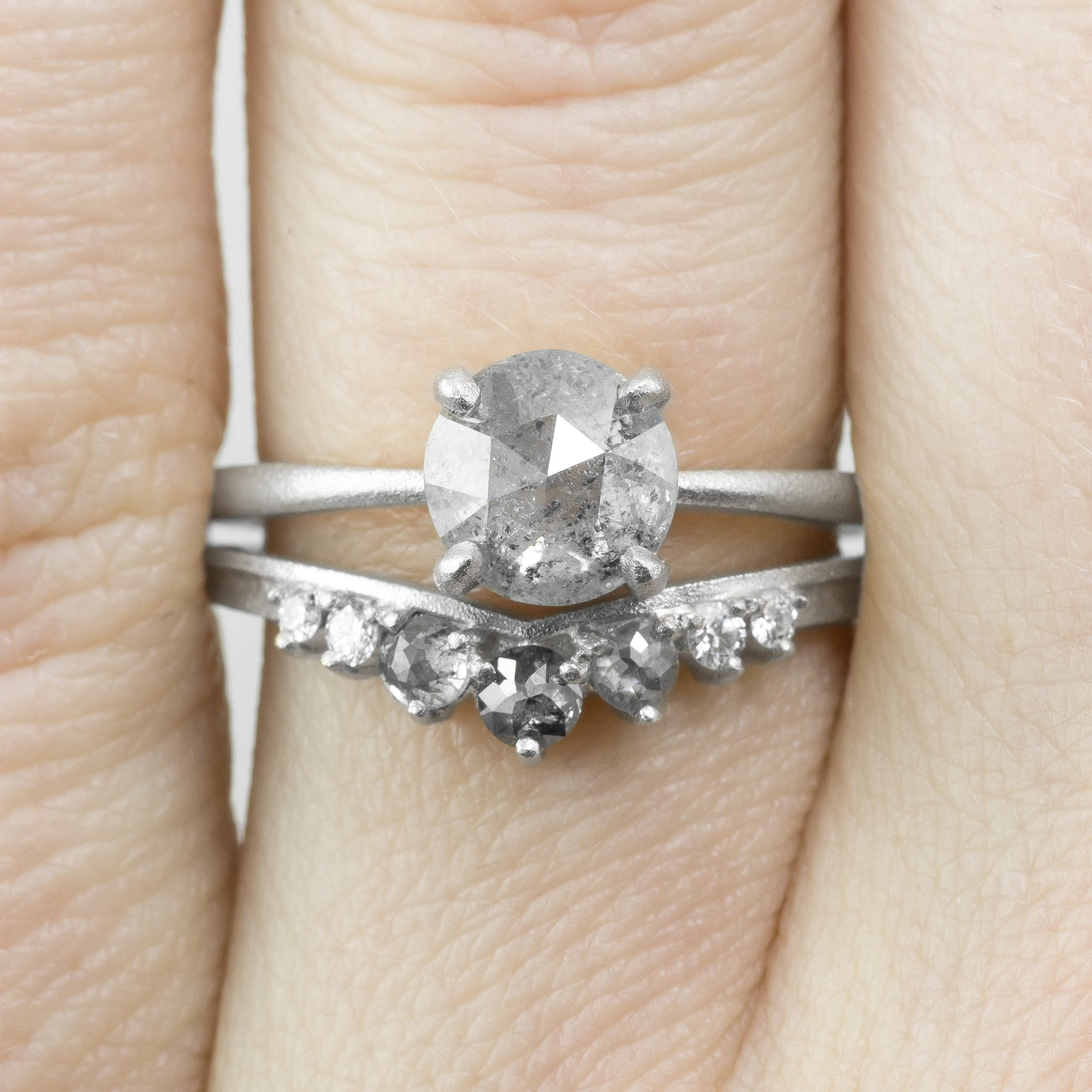 Katie, Grey Diamond Contour Ring in White Gold