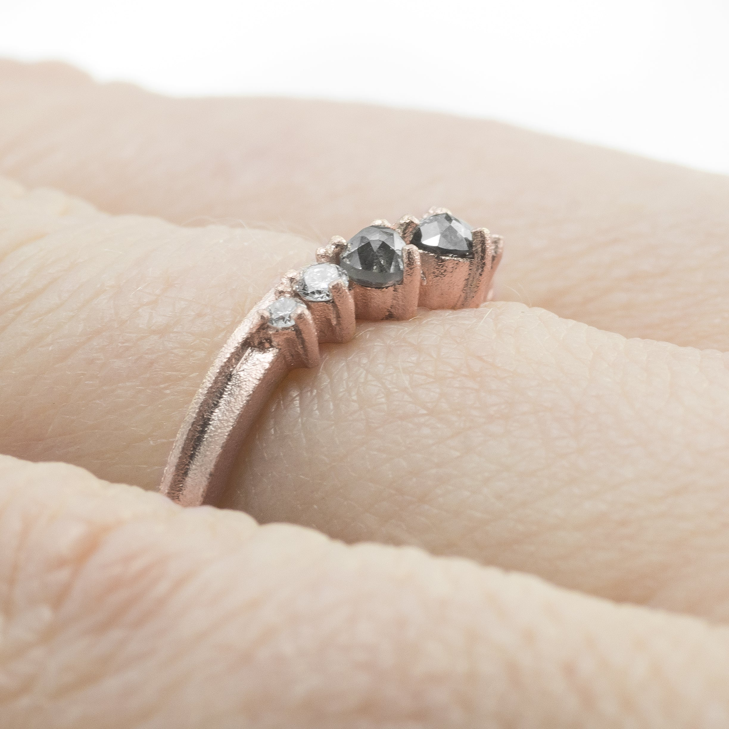 Katie Grey Diamond Contour Wedding Ring, 14k Rose Gold