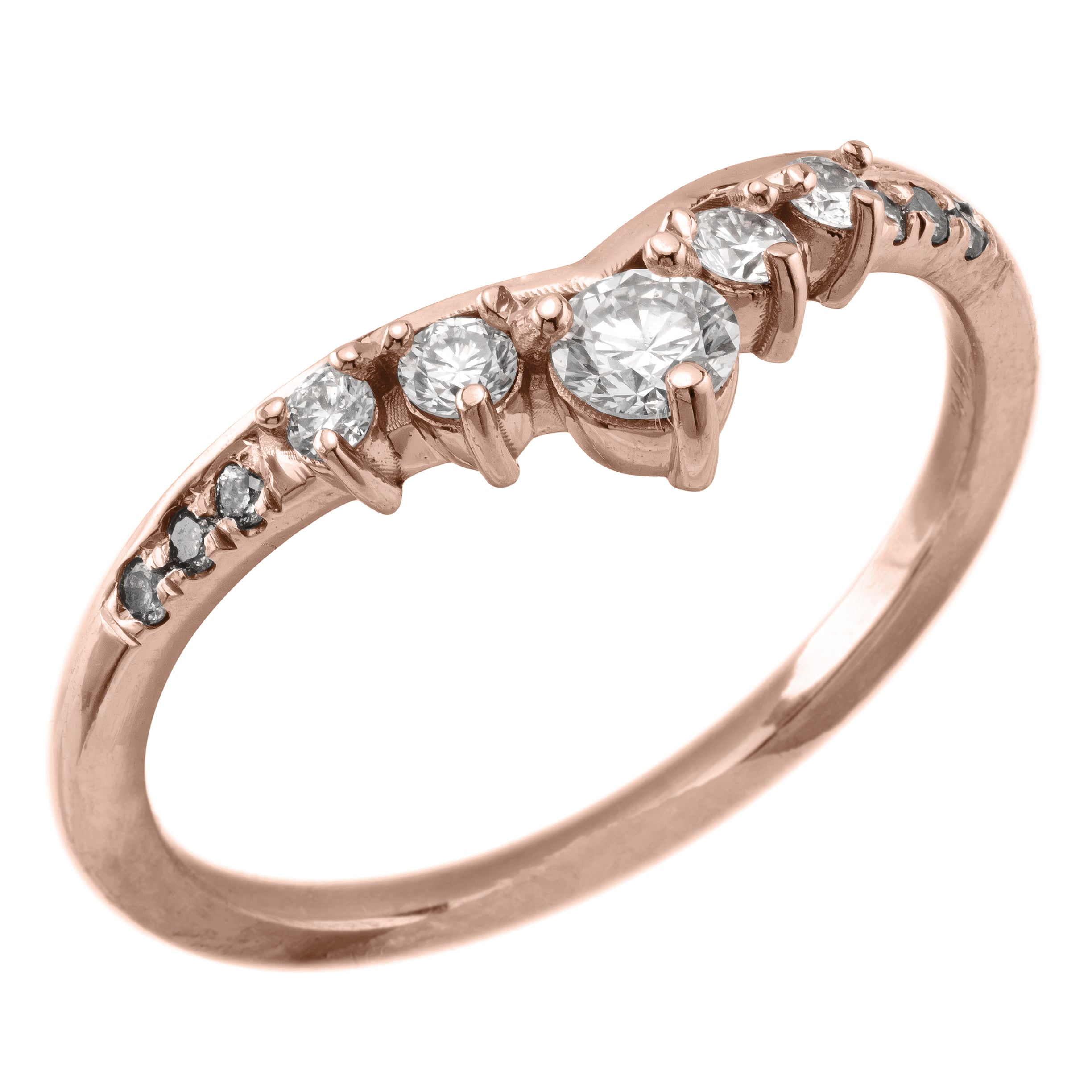 Duchess Diamond Contour Wedding Ring, 14k Rose Gold