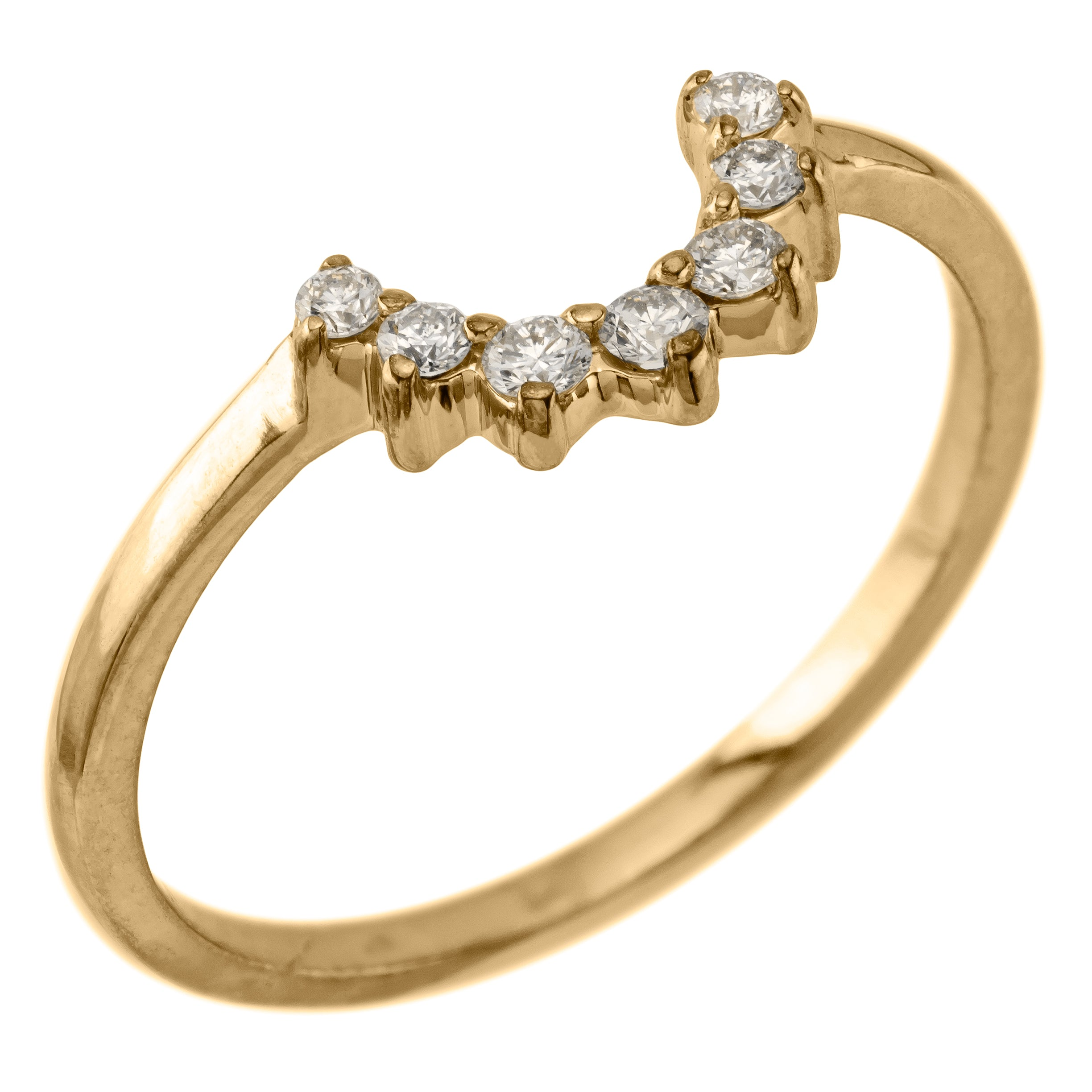 Edna, Diamond Basket Contour Ring in Yellow Gold