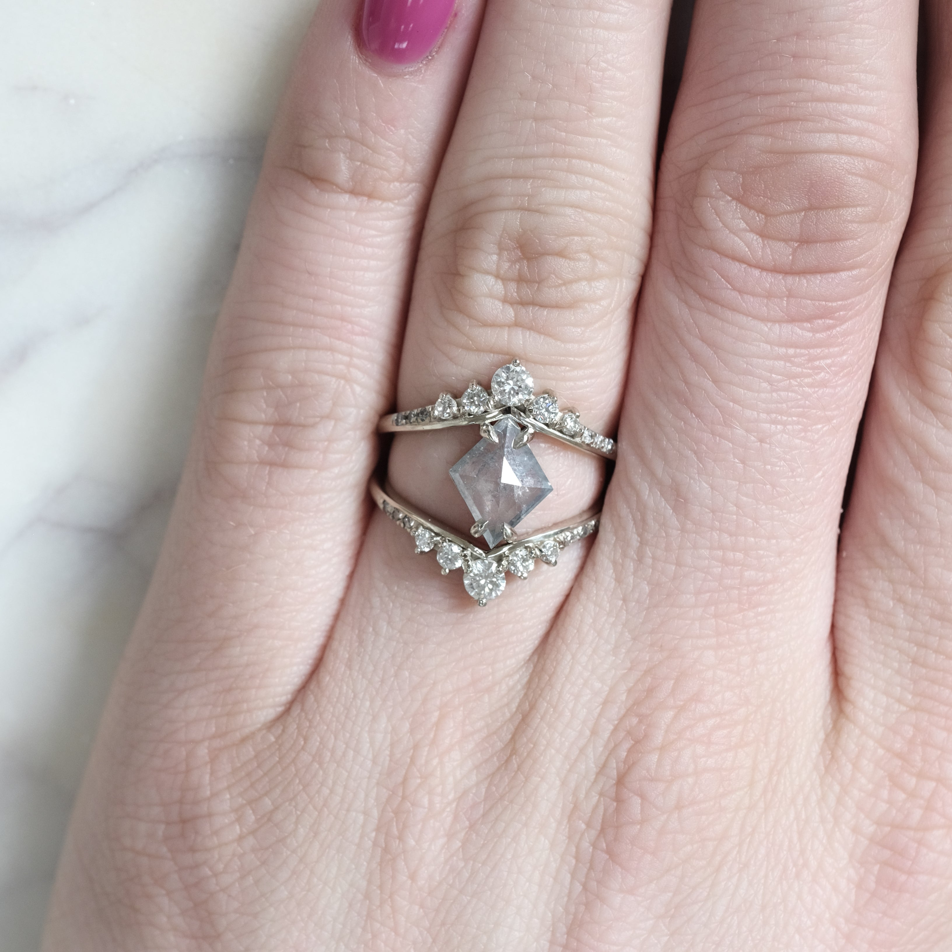 Duchess Grey and White Diamond Ring in White Gold