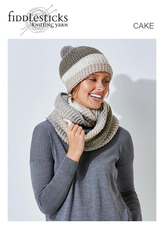FIDDLESTICKS CAKE LEAFLET TX585 COWL AND BEANIE