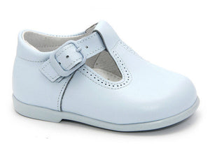 Classic Blue leather T-Strap Mary Janes for Boys Patucos Classic Shoes for Baby and Infant