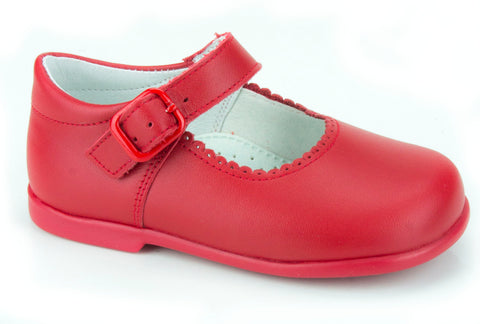Patucos Casual Soft Leather Mary Janes Red Shoes for Girls