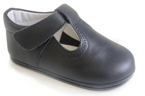 Classic Leather T-Strap Mary Janes Easy Open unisex for Boys and Girls Navy Blue by Patucos