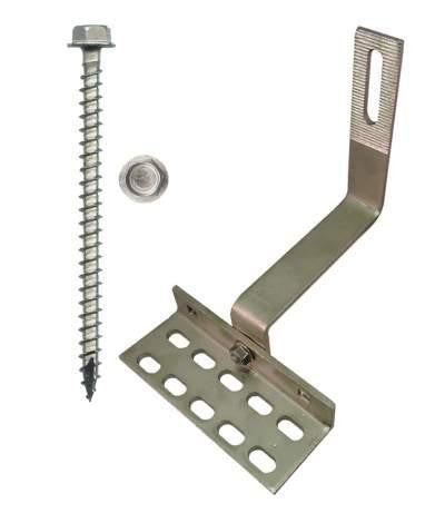 "SolarRoofHook 90° Spanish Tile Roof Hook with Slots, 8mm Height Adjustment Range, Kit with #14 x 3"" Solar Mounting Screws"