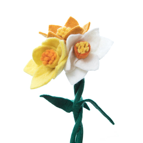 Decorative Felt Flower Daffodils, bendable wire stem with multiple flower petals. Comes in three colors.