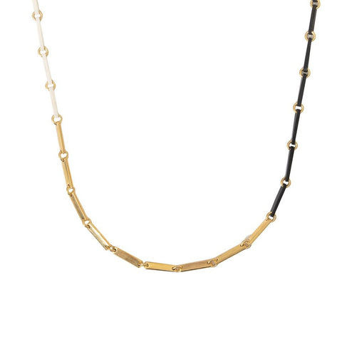 Long, delicate necklace with linked rectangles