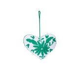 green flower embroidered cotton heart ornament, Global Goods Partners, handmade in Mexico
