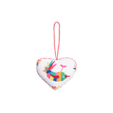 multicolor bird embroidered cotton heart ornament, Global Goods Partners, handmade in Mexico