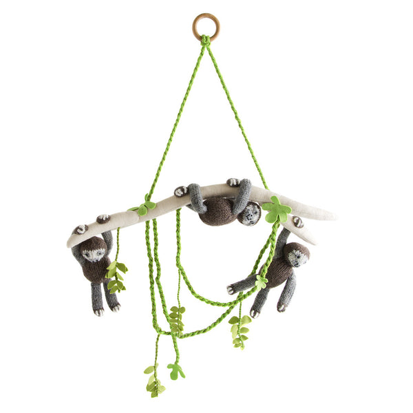 Sloth Pals Mobile: Green and brown decoration for baby room wall or crib. Three fun sloths hang from a branch with jungle vine details. Wood loop for hanging. Handmade in Peru Alpaca Wool Global Goods Partners