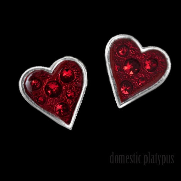 Alchemy Gothic HEART'S BLOOD Stud Earrings - Domestic Platypus