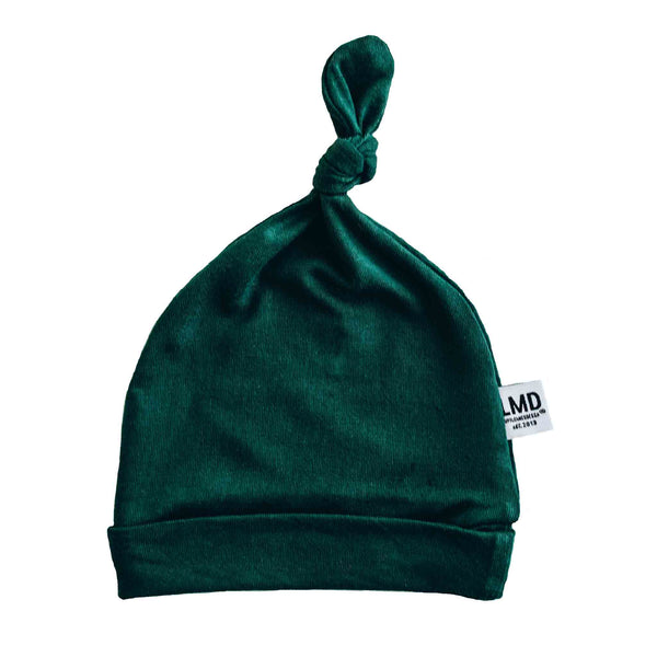 Newborn Baby Knotted Hat | Hunter Green Jersey