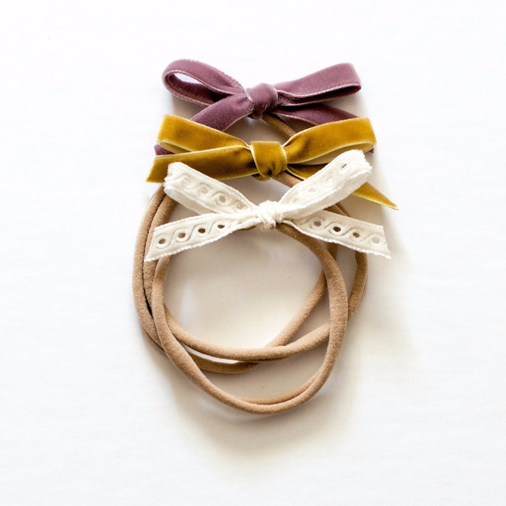 Headband set - Dainty Bow design in Marigold