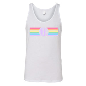 Monogrammed Rainbow Striped Tank Top