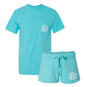 Monogrammed Comfort Colors Lounge Set Summer Pocket Tee Shorts
