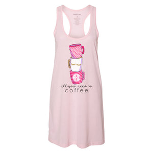 Monogrammed 'Coffee' Pajama Dress/Sleep Dress