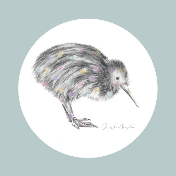 Little Spotted Kiwi Blue Greeting Card
