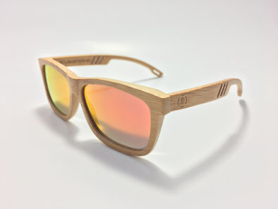 Carbonized Bamboo Wood Sunglasses//Fire Red Lenses (FN)