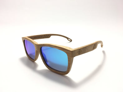 Carbonized Bamboo Wood Sunglasses//Cool Blue Lenses (FN)
