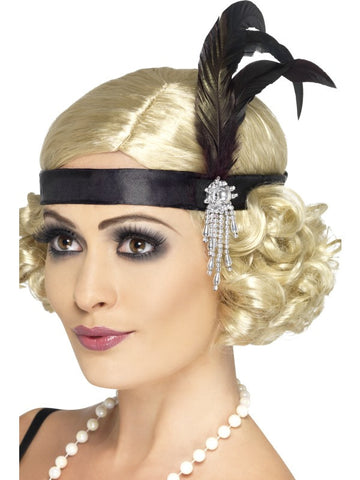 Black Satin Charleston Headband with feather