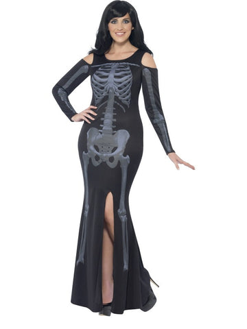 Curves, Skeleton costume, black with dress