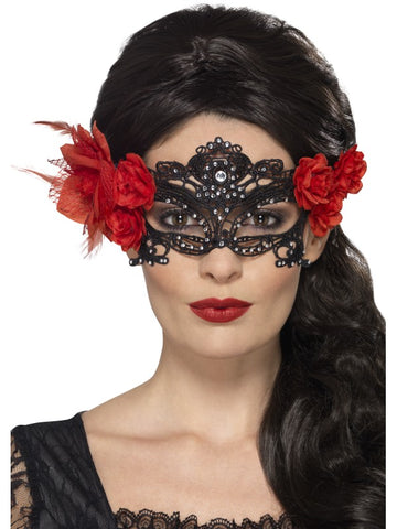 Day of the Dead Lace Filigree Eyemask, Black