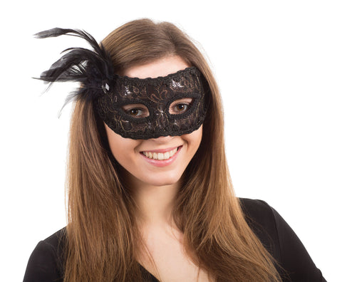 Black Thread Lace Mask