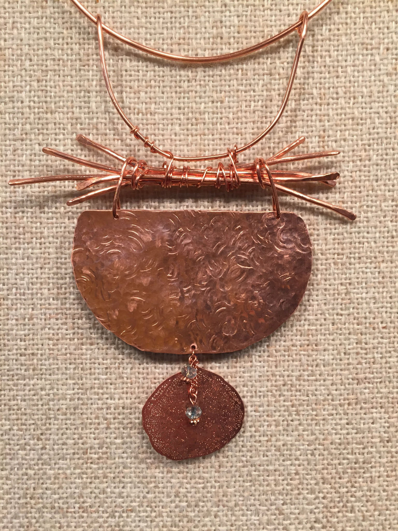 Industrial Earth Embossed Copper Woodsman neck-ring