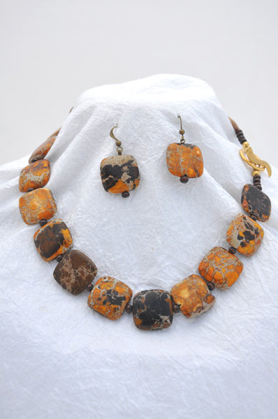 Dark Yellow Impression Jasper, wooden round beads, Brass Toggle Clasp  Necklace and Earrings Wire Earrings Dark Yellow Impression jasper