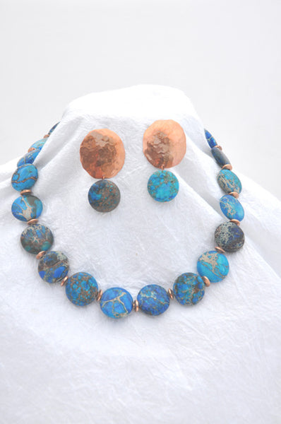 Blue Zebra Jasper, Copper and Earring Set