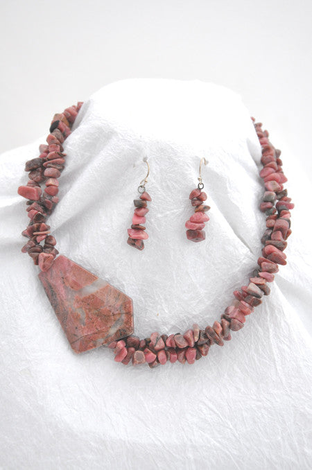 (SOLD) 2 Strand Pink Rhodonite, Silver metal S-hook clasp Necklace and Earrings Silver wire earrings pink rhodonite