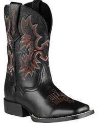 Ariat Youth Tombstone Black Deertan Square Toe Western Boots 10007845