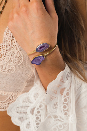 Agate Wrap Bracelet (Purple)